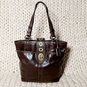 Coach Brown Glovetan Lilly Legacy Turnlock Tote